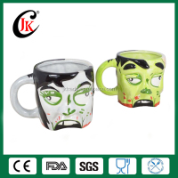 Promotion cheap bulk 3d halloween skull beer stein custom ceramic mug for halloween