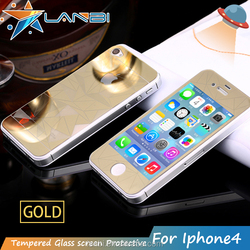 Anti-shatter Electroplating Rhombus 0.3mm 3D 9H Tempered Glass Screen Protector For Iphone4/4s