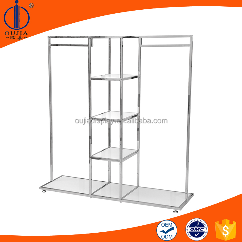 white detachable rack, clothes shop shelf, cheap standing coat rack