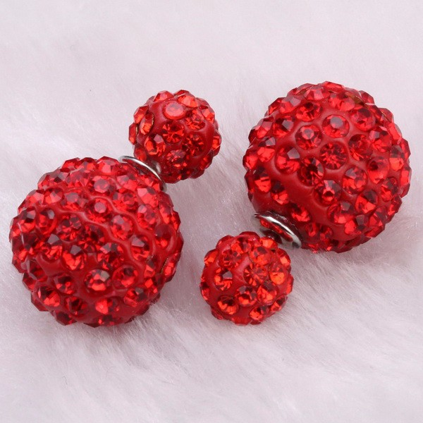 Hot Sale High Quality Design Crystal Ball Earring Double Side Stud Earring Shamballa Beads Statement Earring For Women E753
