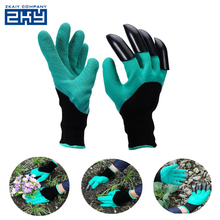 Waterproof&Flexible High Quality Rubber Polyester Builders Garden Genie Gloves with 4 ABS Plastic Claws for Planting and Raking
