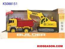KIDSEASON 1:20 MUSICAL AND LIGHTS UP FRICTION POWER CONSTRUCTION DUMP TRUCK & EXCAVATOR TOYS SET