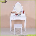 5 drawers wooden Dressing Table set with mirror and stool