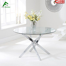 Chromed Legs Tempered Glass Modern Design Glass Center Table