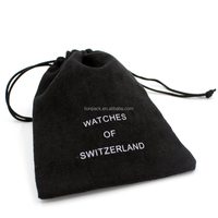 Promotional custom drawstring watch velvet pouch with logo