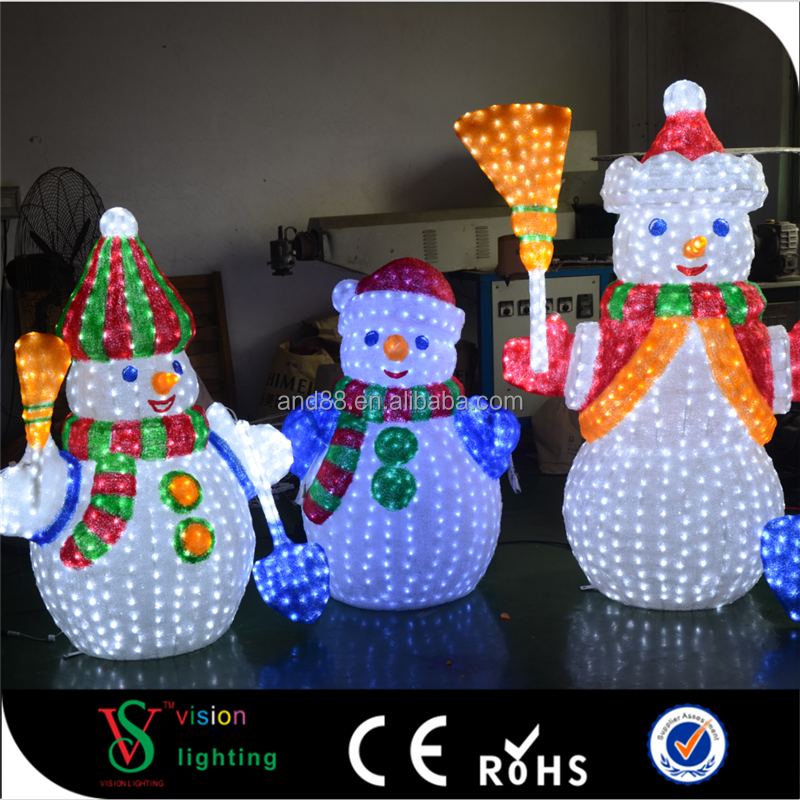 CE ROHS Approved 24V LED Acrylic Snowman Shaped Light with Changing Colors