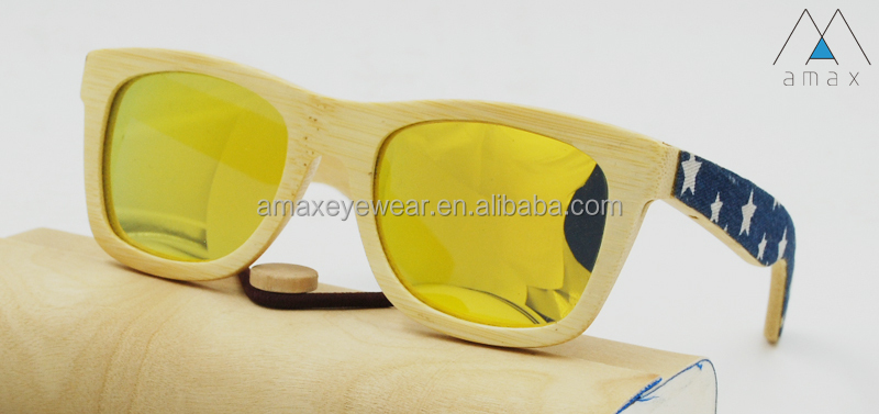 Fashionable natural bamboo sunglasses patterned canvas on temples AMB6005