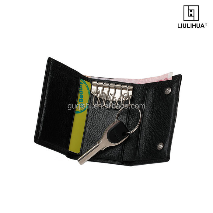 Promotion Genuine Leather Key Wallet with Metal travel mini convenient key package