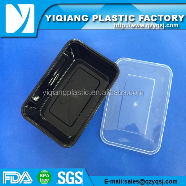 transparent black plastic container for food packaging