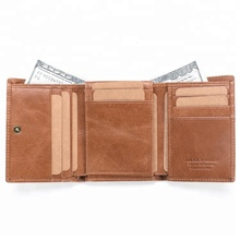 best sell men genuine leather wallet with brown color