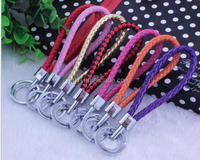 EL-A- 21 Manual Hand Woven Rope Silver Zinc Alloy Metal Round Tag Braided Leather Cord Pink Leather Straps