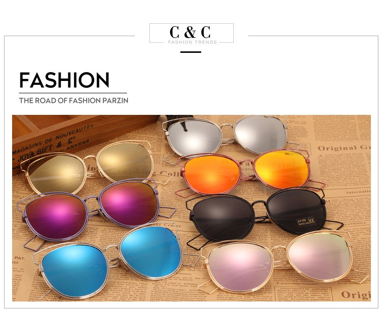 2016 New Fashion Women Cat eye Mirror Sunglasses Famous Brand Designer Hollow Out Metal Frame Summer Style Oculos de sol CC0554