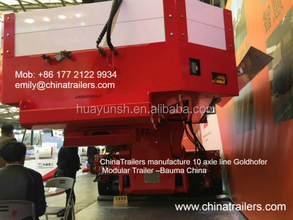 ChinaTrailers manufacture cheap 8 axle line Goldhofer hydraulic platform trailer transport 200 ton transformer
