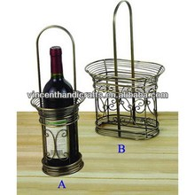 Rustic antique metal wire wine bottle holder with handle