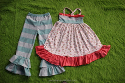 Spring Little Flower Fancy Girl Party Dress and Icing Capris Outfits kids punjabi suit girls without wearing any clothes