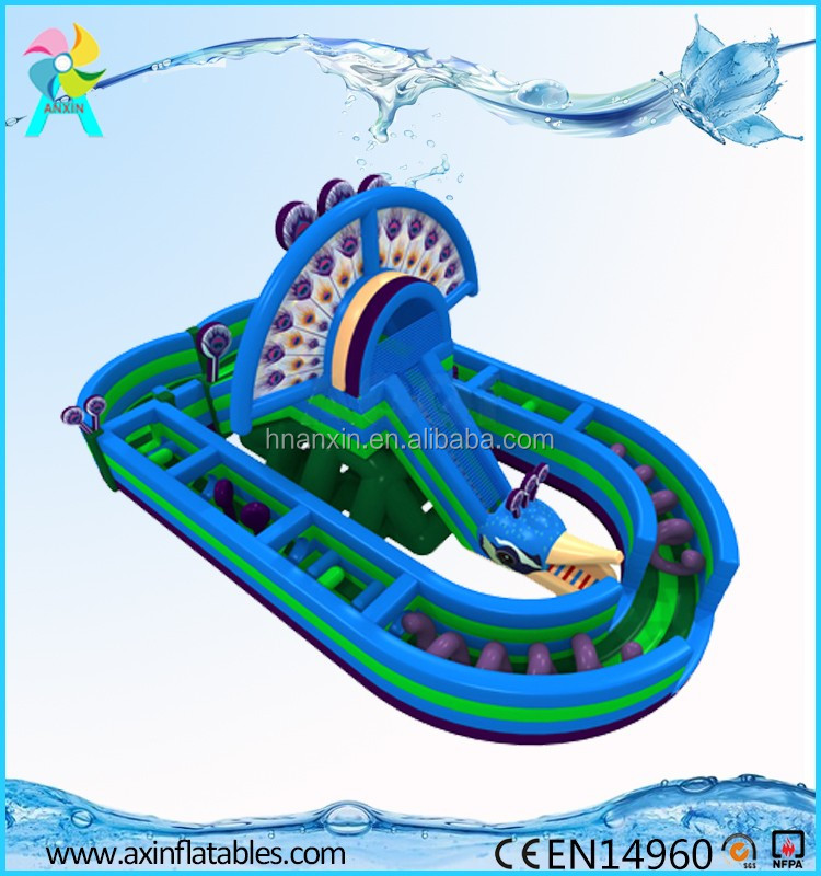 New Design Children Inflatable Peacock Themed Land Obstacle Course Game For Sale