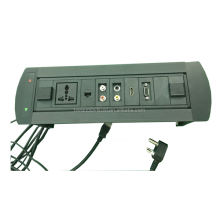 Multimedia Desk Outlet With Motorized Rotation/Flip Up Tabletop Socket/Table Mounted Plug