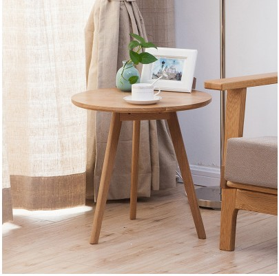 Budget oak solid wood round side table GA-T110