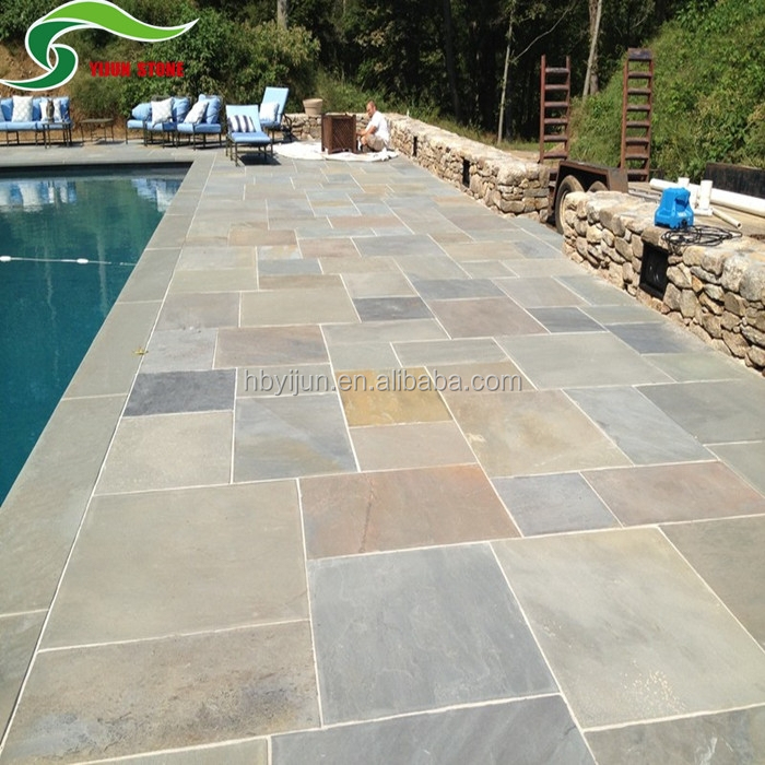 Non slip natural stone look ceramic pool deck tiles