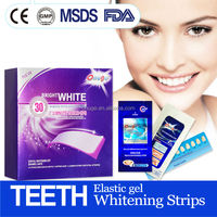 Professional outstanding effect easy white 30 min express elastic gel tooth whitening strips, better than Crest 3D