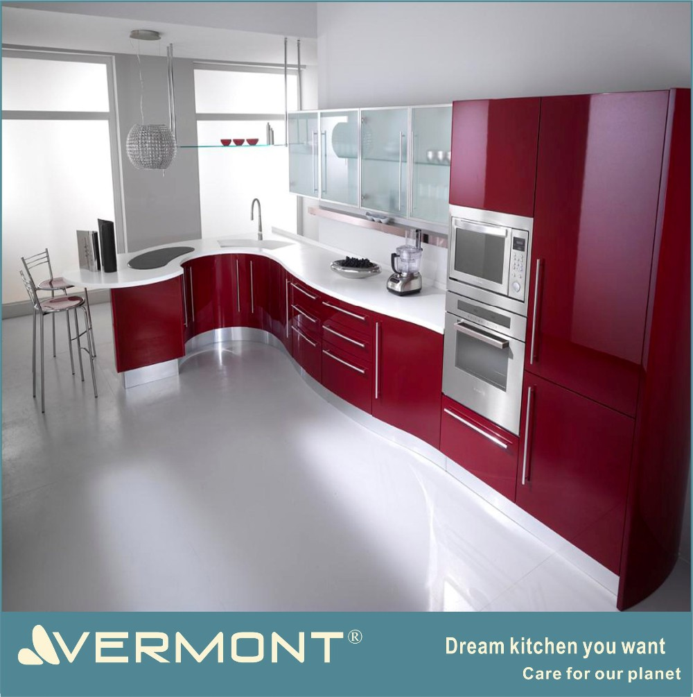 2017 Red color of modern kitchen cabinet design in Guangzhou Shunde District(VT-PK-081)