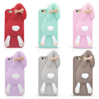 3D Cute Cartoon Rabbit Back Case Cover for iphone5 5G 5S 6 6plus Soft Silicone Rubber Mobile Cell Phone Cases for Iphone 6 6plus