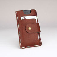 from Beron genuine cow leather case for 4s mobile phone case with strap handmade stitching card slot case