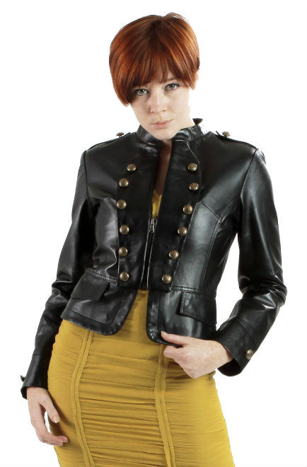 Womens Lambskin Black Leather Military Jacket