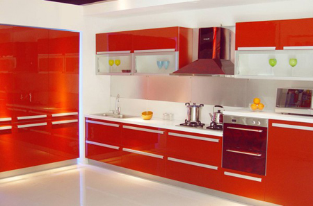 Factory Direct Cheap Red Crimson Kitchen Cabinet
