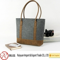 China Supplier Wholesale fashion felt tote bag, shoulder bag with leather handle