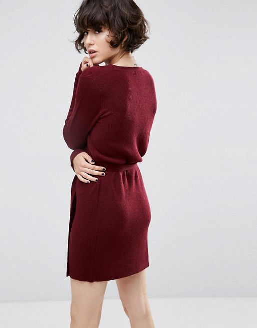 Women Newest Design Winter Style Knitted Dress With Wrap And Eyelet