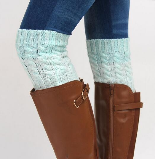 Women Crochet Knitted Button Trim Boot Cuffs Toppers Leg Warmers Winter Socks
