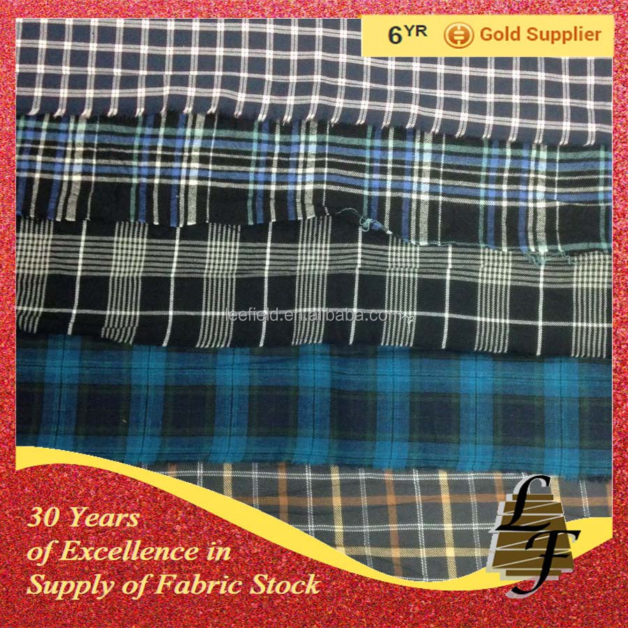 china supplier fashion yarn dyed flannel check stock lot fabric for woven shirt