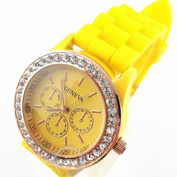Promotion geneva Lady brand Watch Crystal Silicone Jelly watch for women wedding quartz watch