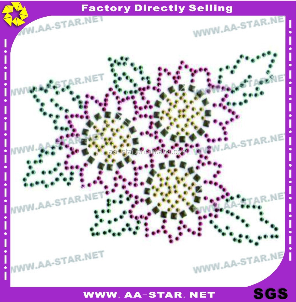 factory price hot fix sun flower rhinestone transfer design motif for dresses