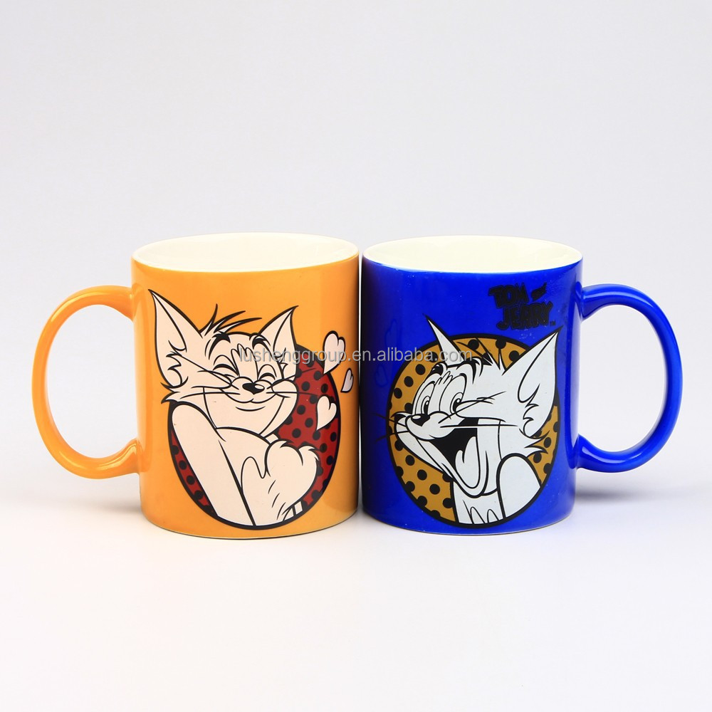 color glazing cartoon custom logo promotional ceramic gift mug wholesale