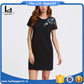 Chinese clothing manufacturers blossom embroidered tee round neck dress elegant dress