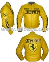 Yellow COWHIDE MOTORBIKE LEATHER JACKET