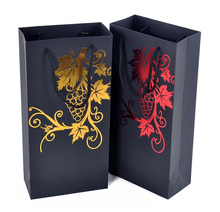 Promotional Art Paper Luxury Black Paper Wine Gift Bag