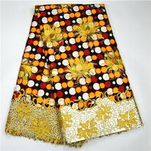 Colorful African Embroidery Wax Lace With Stones Super Wax Hollandais Lace Fabric Embroidery Cotton Fabric Dress 08285