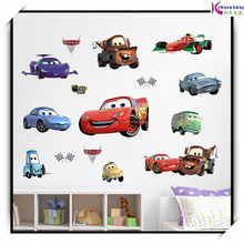 Car cartoon wall stickers boy's bedroom home mural art for kids rooms removable home wall decals nursery kids mural art