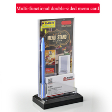 Sign holder card with business card holder dual purpose price tag menu