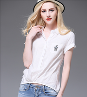 2016 latest fashion blouse design white short sleeve women pretty blouse