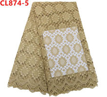 African cord lace champagne gold women dresses fashion india embroidery 100% cotton french cord lace