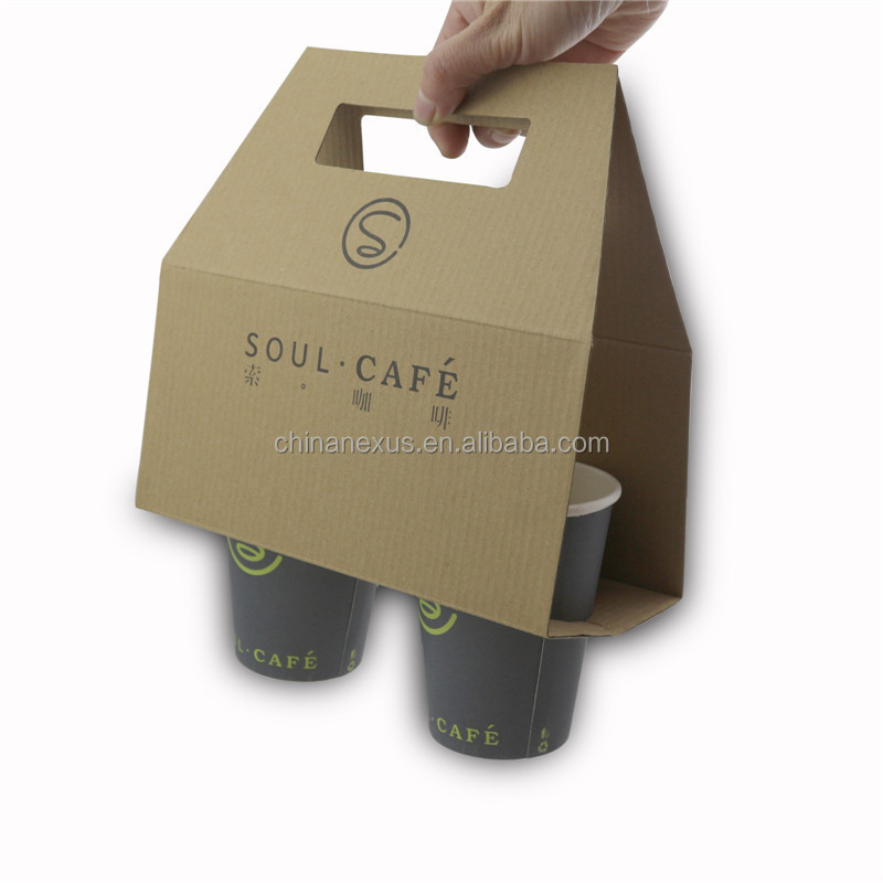 3 Layers E Corrugated Paper Cup Carrier with 2 holes
