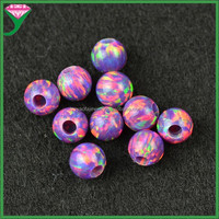 hot sale half drilled big hole round OP39 purple rainbow flash opal ball