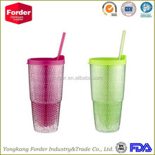 wholesale double wall plastic starbuck thermal cup with straw factory