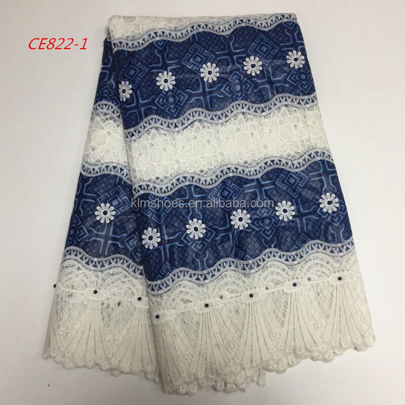 New Arrival Blue Add White Hollandais Wax Mix Guipure Lace Fabric Cord Lace Fabirc For African Lady Dress CE822-1