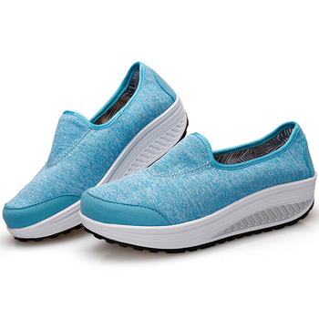Women Walking Fashion Shoes Jersey Slip On Health Walking Shoes