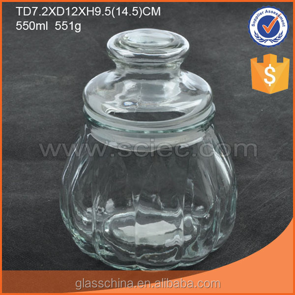 Clear Round Sealed Glass Food Storage Container Pumpkin Shaped 2 Sizes